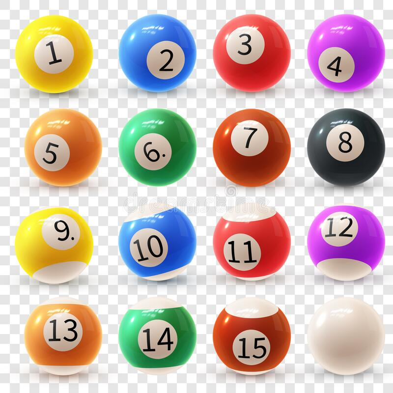 Realistic colorful vector set of glossy 3D billiard balls. Balls for pool or snooker. stock illustration