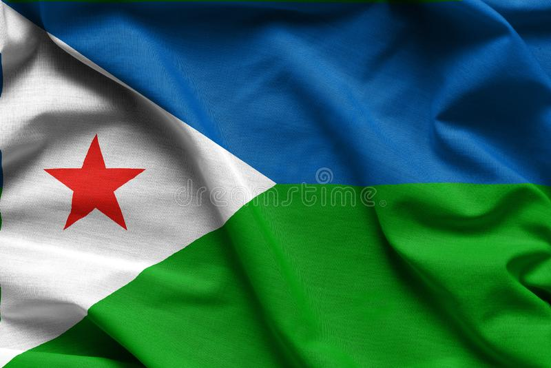 Realistic colourful background, flag of Djibouti stock photo