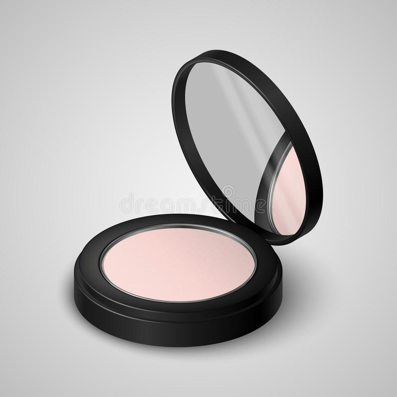 Realistic compact powder in black container with mirror. Vector illustration stock illustration