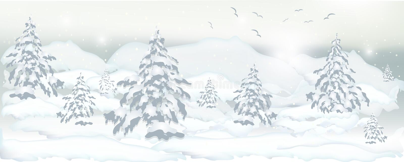 realistic banner of winter trees, pines and white snow for design vector illustration