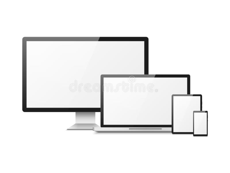 Realistic computer. Devices laptop tablet phone smartphone monitor, computer desktop screen, responsive web layout vector illustration