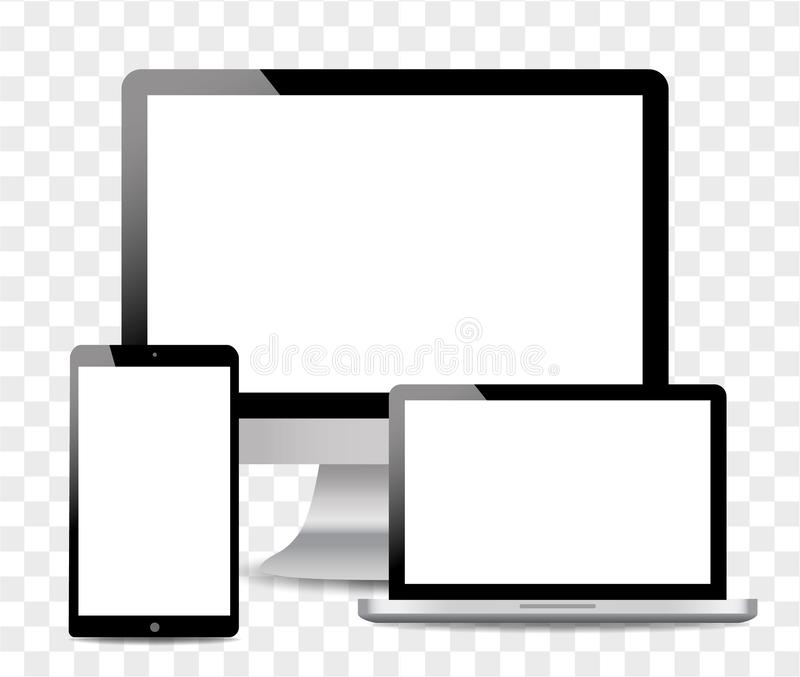 Realistic Computer, Laptop, touch tablet in mockup style. Modern devices on isolated background. Vector eps10 royalty free illustration