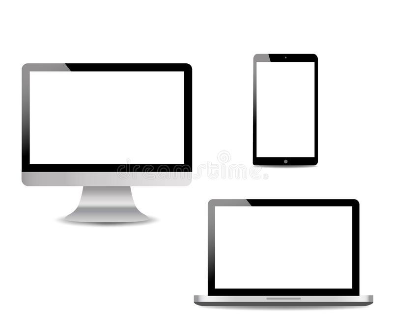 Realistic Computer, Laptop, touch tablet in mockup style. Modern devices on isolated background. Vector eps10 stock illustration