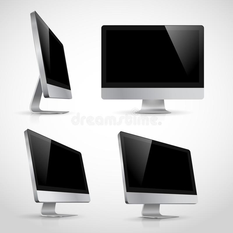 Realistic of computer monitor in various position. S template. Isolated on white background royalty free illustration