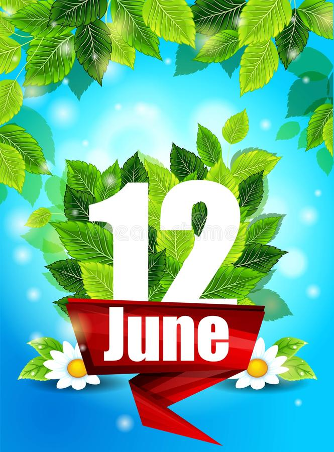 Realistic concept with blooming daisies. Quality background with green leaves. Bright poster June 12 with the flowers and letter,. Realistic concept. Quality stock illustration