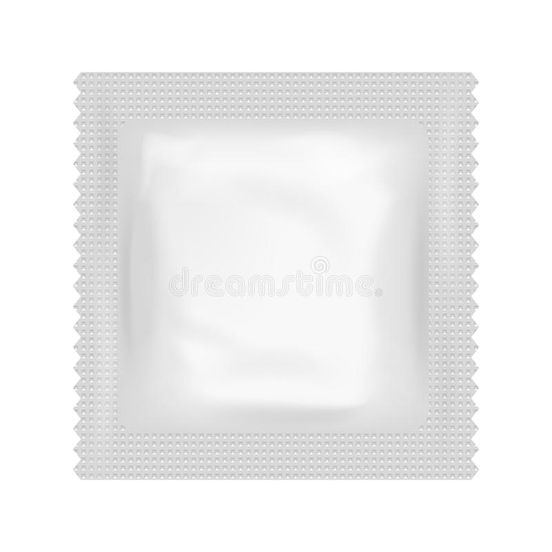 Realistic Condom Food Medicine Flow Pack Isolated Icon Design Template Vector Illustration. Realistic Condom Food Medicine Flow Pack Isolated Design Template royalty free illustration
