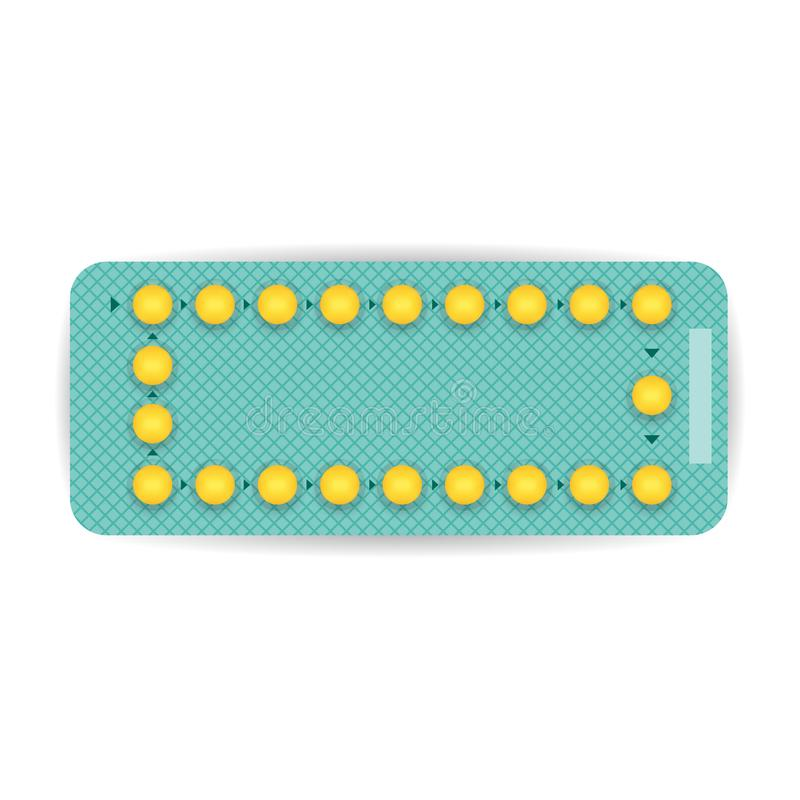 Realistic Contraceptive pill blister. Drug pack. Pharmacy concept. Vector illustration vector illustration