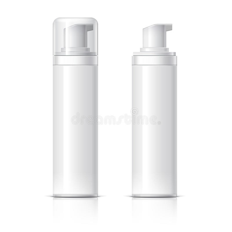 Realistic Cosmetic bottle can sprayer container. Dispenser for cream, soups, foams and other cosmetics With lid and without. Template For Mock up Your Design stock illustration