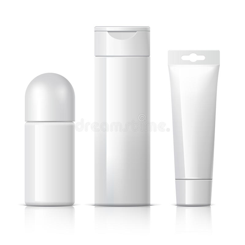 Realistic Cosmetic bottle can sprayer container. Set of cosmetic products on a white background. Cosmetic package collection for cream, soups, foams, shampoo royalty free illustration
