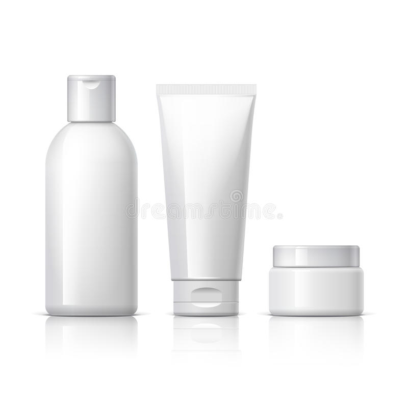 Realistic Cosmetic bottle can sprayer container. Set of cosmetic products on a white background. Cosmetic package collection for cream, soups, foams, shampoo stock illustration