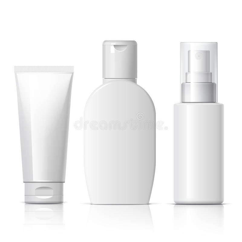 Realistic Cosmetic bottle can sprayer container. Set of cosmetic products on a white background. Package collection for cream, soups, foams, shampoo. Object stock illustration