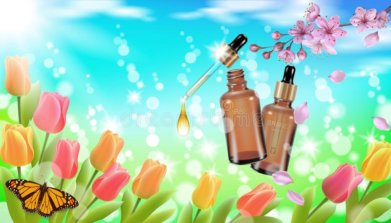 Realistic cosmetic bottle spring landscape green grass blue sky light background tulip flower butterfly sakura cherry stock illustration