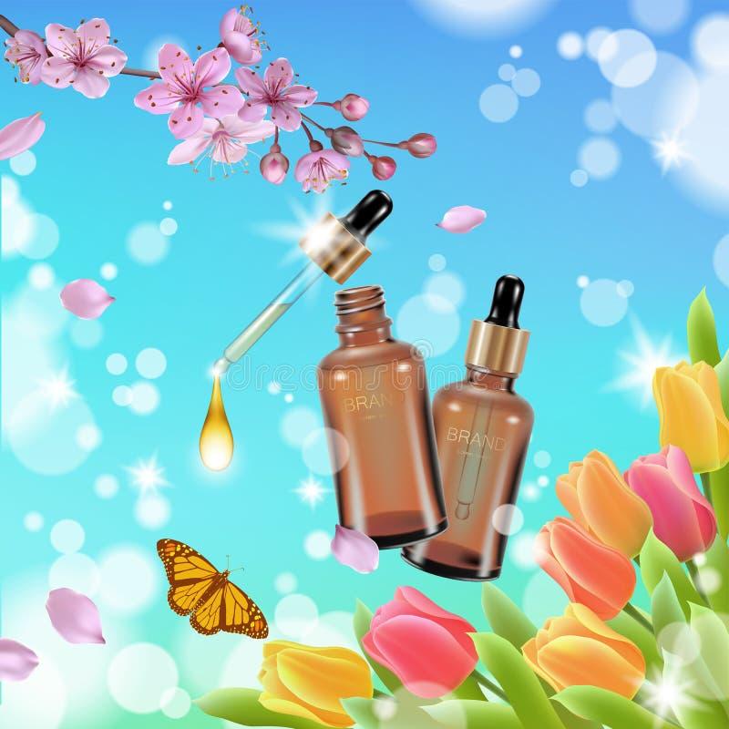 Realistic cosmetic bottle spring landscape green grass blue sky light background tulip flower butterfly sakura cherry. Blossom. 3d medicine drug allergy royalty free illustration