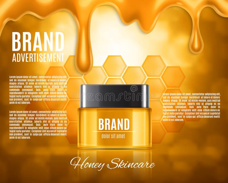 Realistic cosmetic container. Cosmetic ads template. Honey skincare. Realistic cosmetic container on a background with bokeh elements. Design for ads or magazine stock illustration