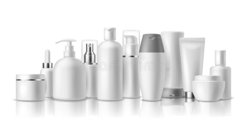 Realistic cosmetic mockups. Skin care cosmetics bottles, container and jar. Spa beauty product. Spray, lotion and cream royalty free illustration