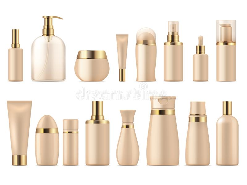 Realistic cosmetic package. Gold beauty product 3D mockup shampoo bottle lotion pump. Luxury package vector template. Realistic cosmetic package. Gold beauty vector illustration