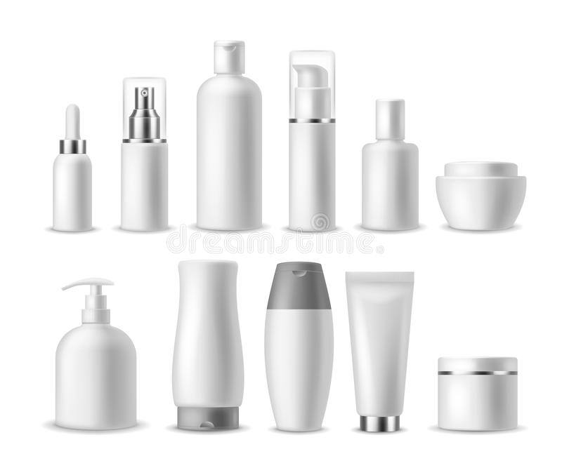 Realistic cosmetic package. White blank cosmetics bottles, containers. Beauty products. Spray, soap and cream, shampoo royalty free illustration