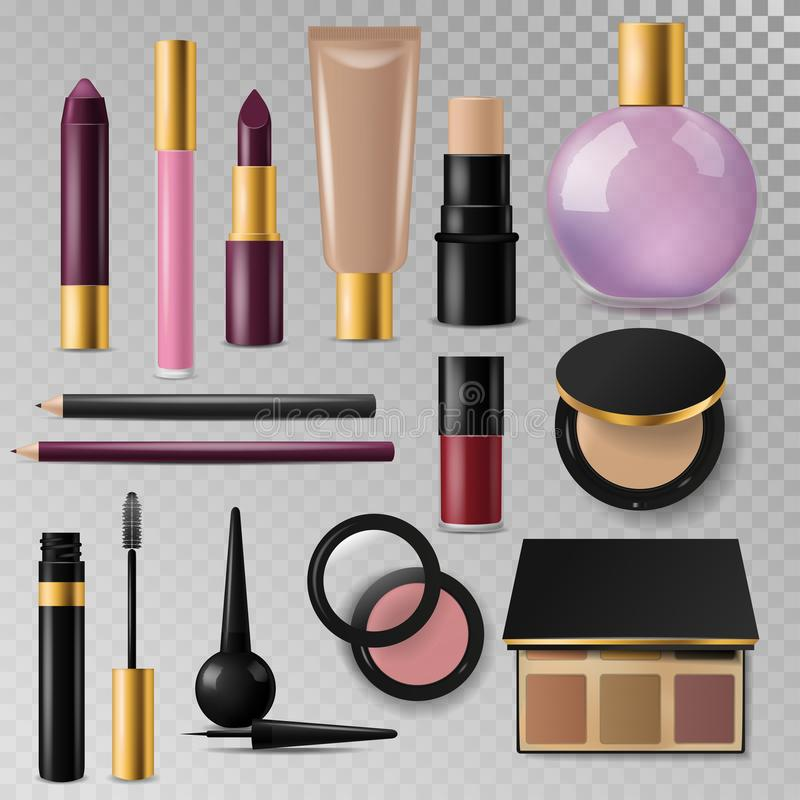 Realistic cosmetic paks make-up bottle luxury container package royalty free illustration