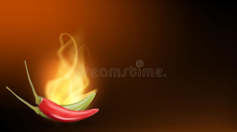 Realistic creative vector red hot flaming chilli pepper stock illustration