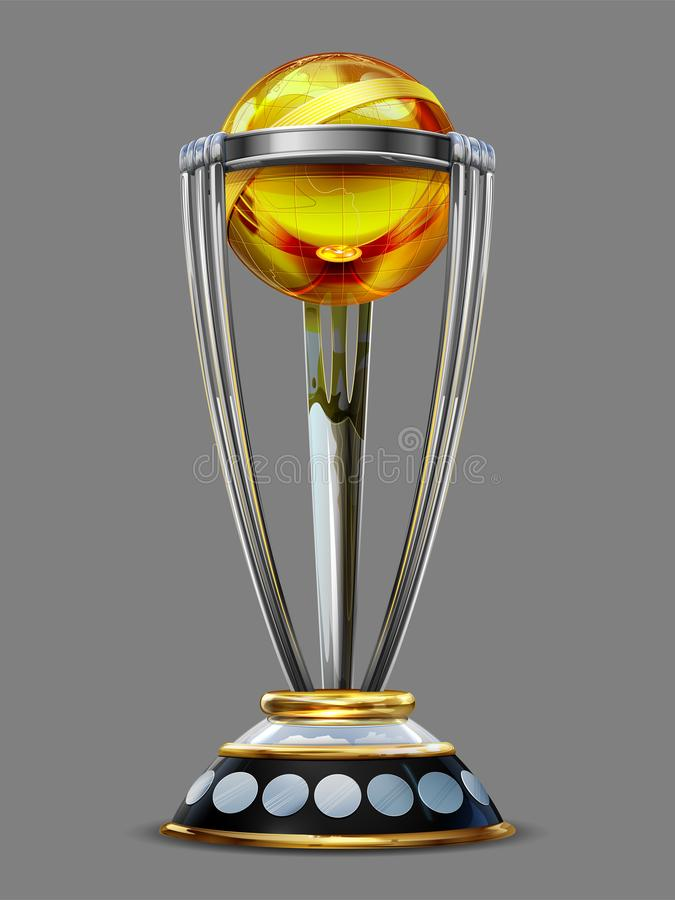 Realistic Cricket World Cup Trophy on plain background stock illustration