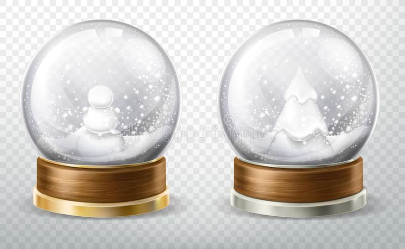 Realistic crystal globe set with fallen snow, gift vector illustration