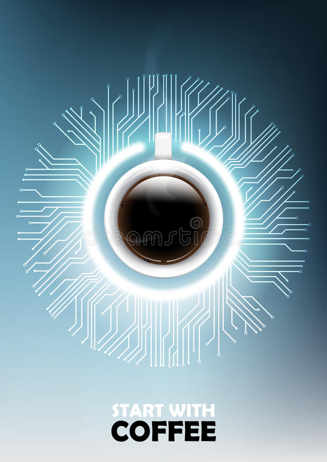 A realistic cup of black coffee with power button and microchip concept and futuristic electronic technology background vector illustration