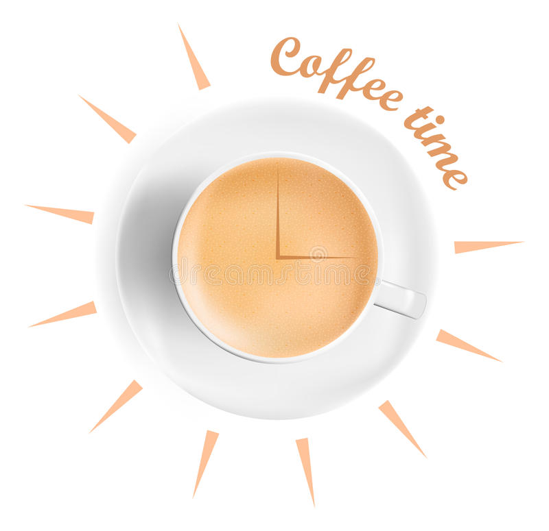 Realistic cup of coffee. Coffee time concept. Arrows of clock on the coffee surface. royalty free illustration