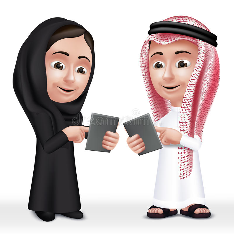 Realistic 3D Arab Kids Characters Boy and Girl. Talking in Mobile Tablet About School Wearing Thobe and Abaya for Studies. Editable Vector Illustration royalty free illustration