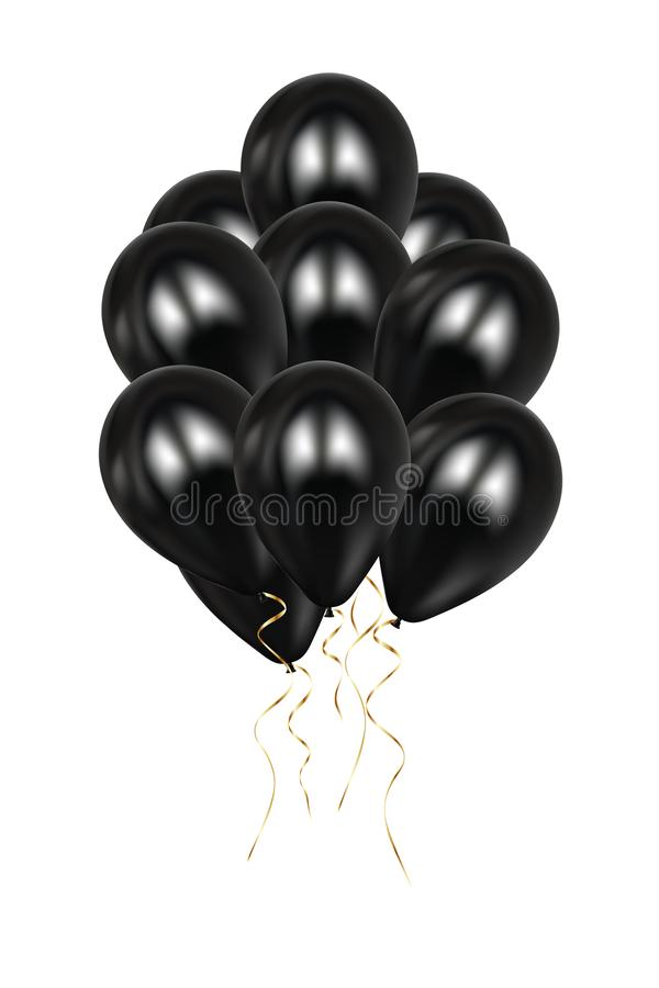 Realistic 3d black ballons Vector Illustration. Colorful glossy Ballon. Balloons set isolated mockup for anniversary, birthday vector illustration