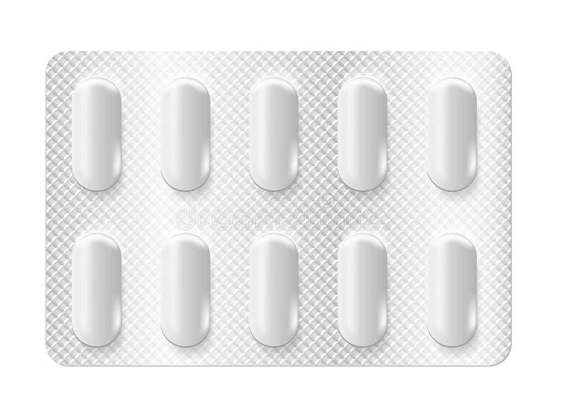 Realistic 3d blister pills vector illustration