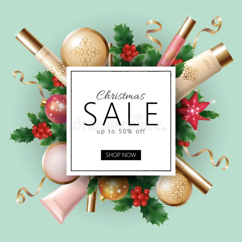 Realistic 3d Christmas holiday sale web banner template. vector illustration
