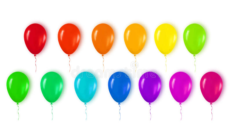 Realistic 3d Colorful Glossy Balloons Flying for Happy Birthday, vector illustration