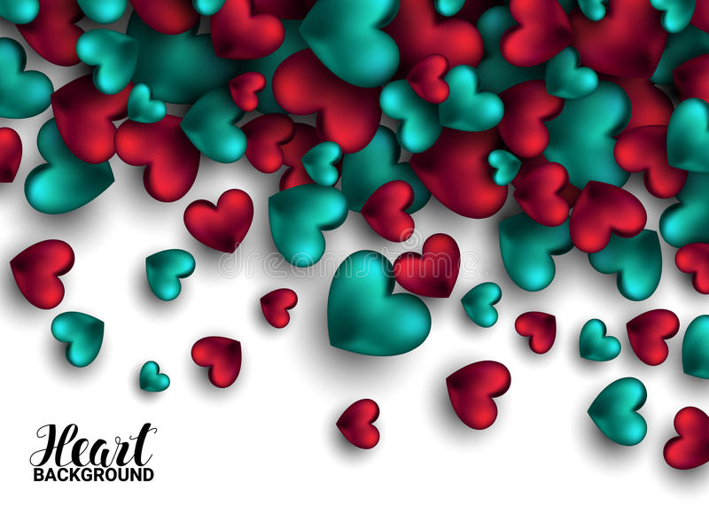 Realistic 3D Colorful Red and turquoise Romantic Valentine Hearts Valentines love. Vector illustration Background.  vector illustration