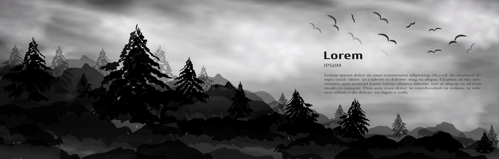 Realistic 3d banner, Christmas trees, trees, pines and high mountains place under text for design. natural landscape of white. Realistic 3d composition of trees vector illustration