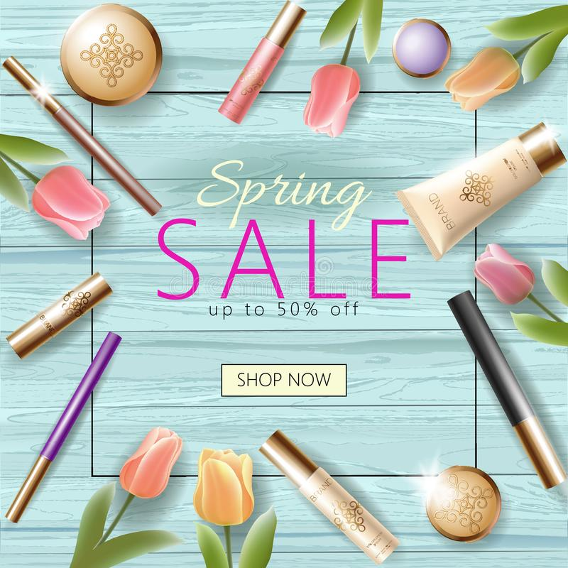 Realistic 3d cosmetic spring sale banner template. Square promotional poster tulip flower blossom wooden turquoise plank vector illustration