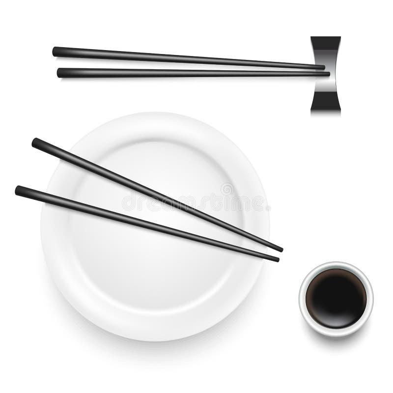 Realistic 3d Detailed Asian Food Chopsticks Set. Vector royalty free illustration