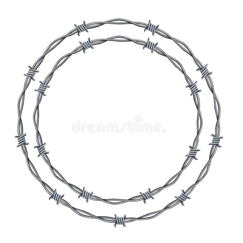Realistic 3d Detailed Barbed Wire Frames Set. Vector. Realistic 3d Detailed Barbed Wire Frames Set Circle or Round Shape Place for Text. Vector illustration of stock illustration