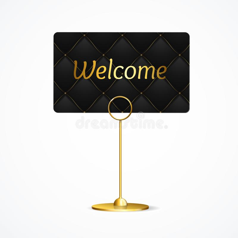 Realistic 3d Detailed Card Holder Welcome Concept Vip. Vector. Realistic 3d Detailed Gold Card Holder Welcome Concept Vip on a Black Quilted Pattern Background stock illustration