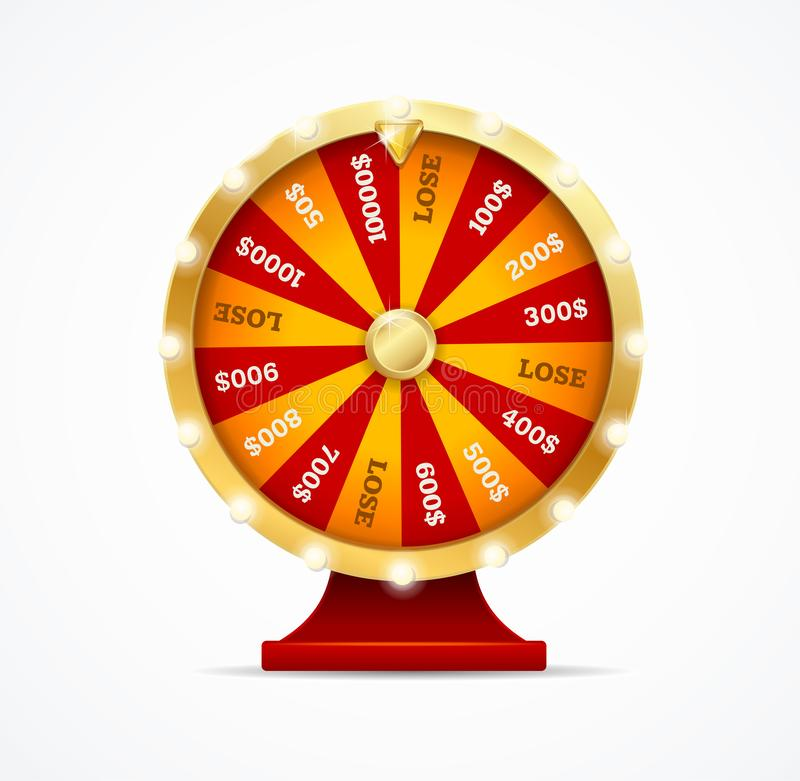 Realistic 3d Detailed Casino Fortune Wheel. Vector. Realistic 3d Detailed Casino Fortune Wheel Isolated on a White. Vector illustration of Gamble Game Concept stock illustration