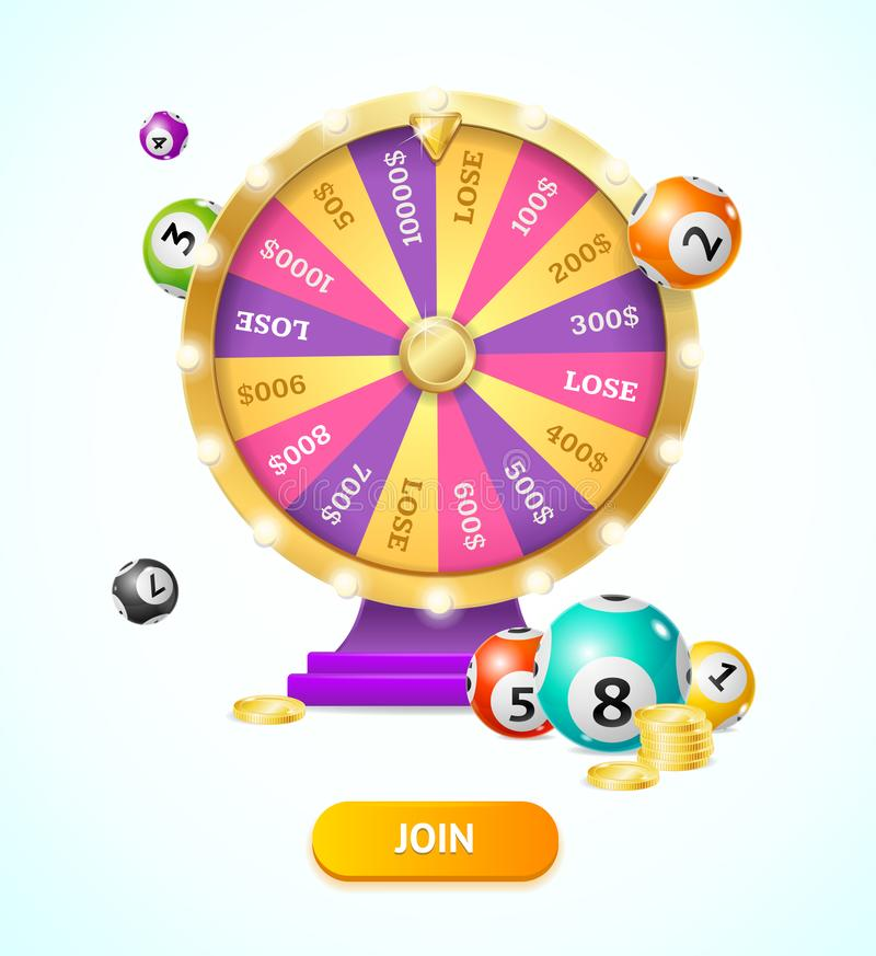 Realistic 3d Detailed Casino Fortune Wheel and Lottery Balls, Gold Coin Stacks. Vector. Realistic 3d Detailed Casino Fortune Wheel and Lottery Balls, Gold Coin royalty free illustration