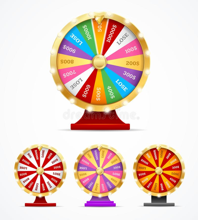 Realistic 3d Detailed Casino Fortune Wheel Set. Vector. Realistic 3d Detailed Casino Fortune Wheel Set with Pointer for Rotate on a White. Vector illustration stock illustration