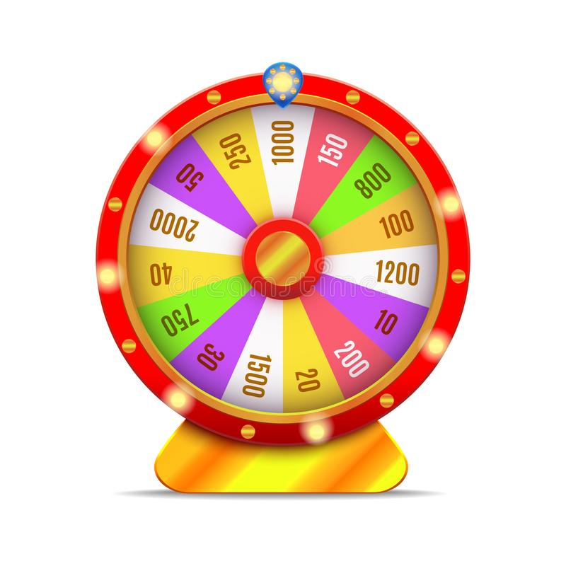 Realistic 3d Detailed Casino Fortune Wheel. Vector. Realistic 3d Detailed Casino Fortune Wheel Isolated on a White Background Symbol of Luck Game. Vector stock illustration