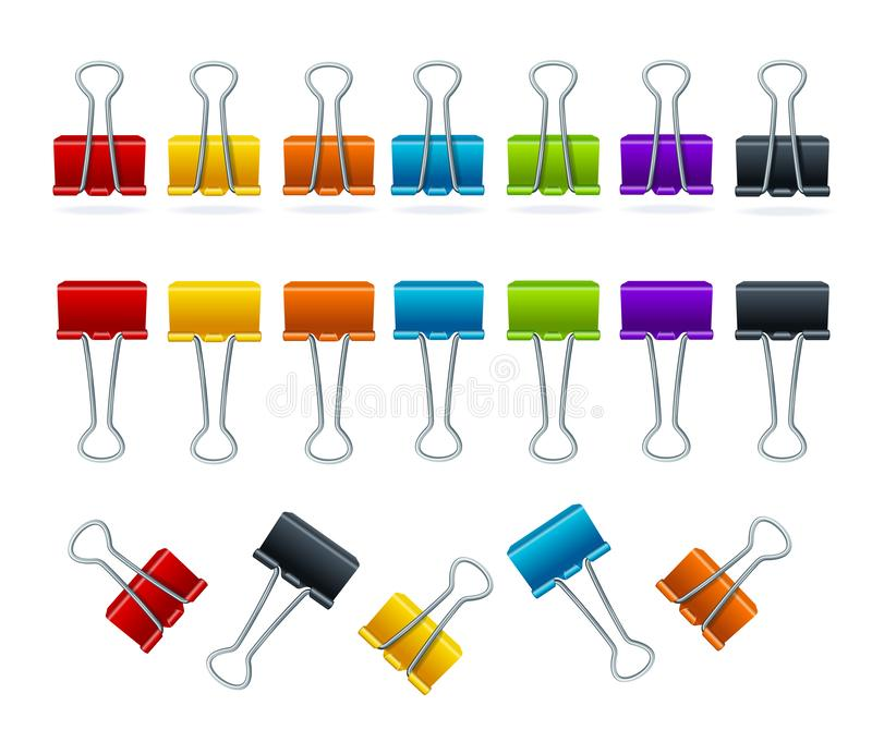 Realistic 3d Detailed Color Binder Clips Set. Vector. Realistic 3d Detailed Color Metallic Binder Clips Set Concept Business Office Accessory for Documents and stock illustration