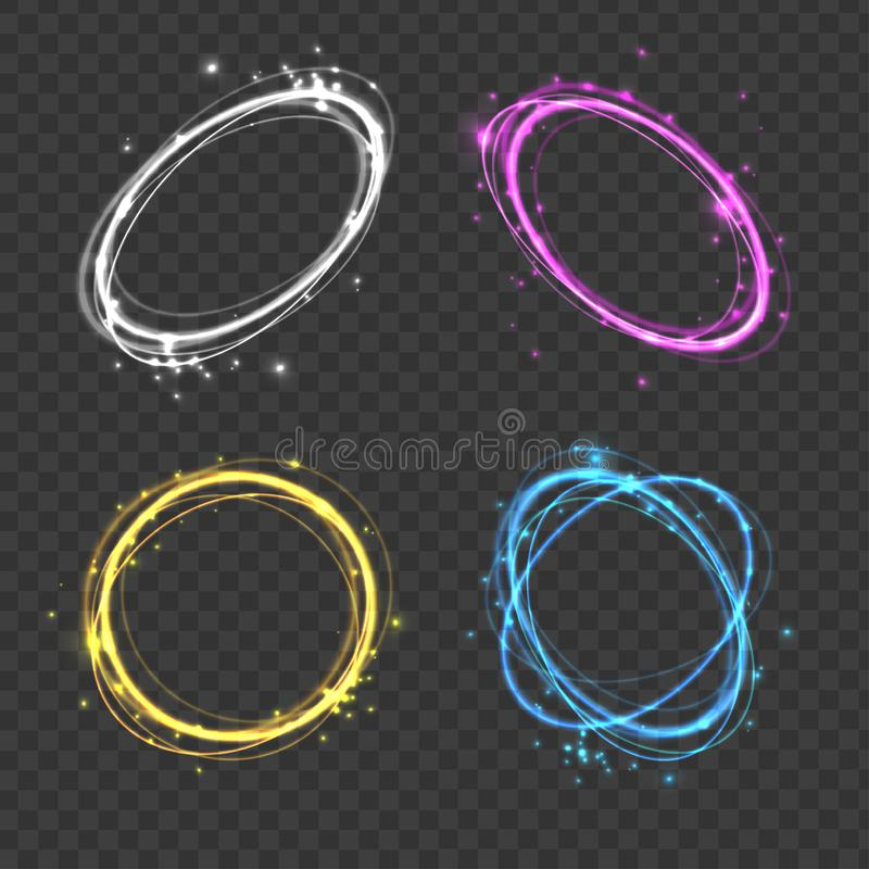 Realistic 3d Detailed Color Light Discs Hazy Effect Set. Vector. Realistic 3d Detailed Color Light Discs Hazy Effect Set on a Transparent Background Rotate and vector illustration