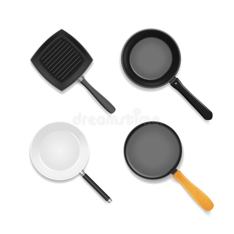 Realistic 3d Detailed Frying Pan Set. Vector vector illustration