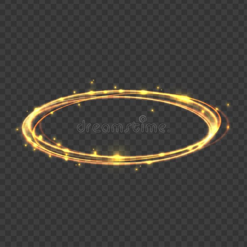 Realistic 3d Detailed Gold Swirls Light Disc Hazy Effect. Vector. Realistic 3d Detailed Gold Swirls Light Disc Hazy Effect on a Transparent Background . Vector stock illustration