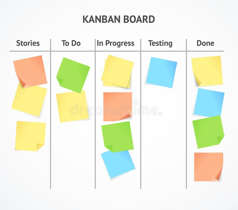 Realistic 3d Detailed Kanban Board with Color Sticky Notes. Vector. Realistic 3d Detailed Kanban Board with Color Sticky Notes for Business Project or Work in vector illustration