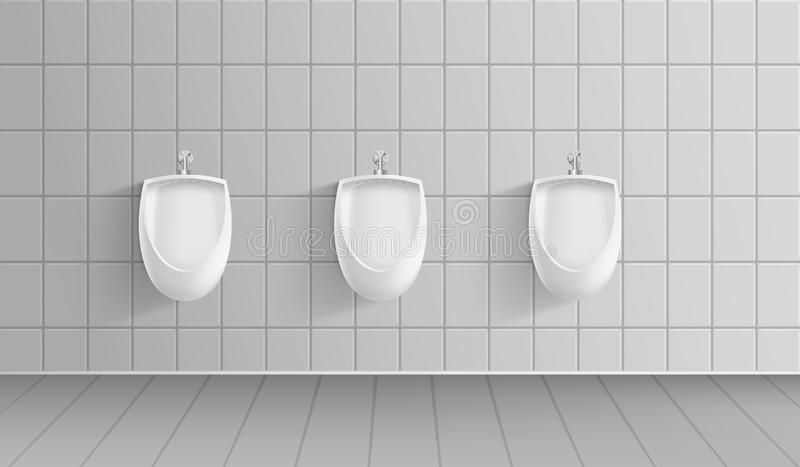 Realistic 3d Detailed Men Public Toilet. Vector. Realistic 3d Detailed Men Public Toilet Room Interior with Row Clean Ceramic Urinals. Vector illustration of royalty free illustration