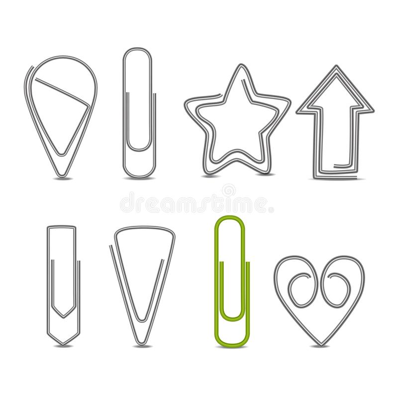 Realistic 3d Detailed Metal Paper Clips Set. Vector. Realistic 3d Detailed Metal Paper Clips Set Different Shapes Include of Star, Arrow, Heart and Triangle vector illustration