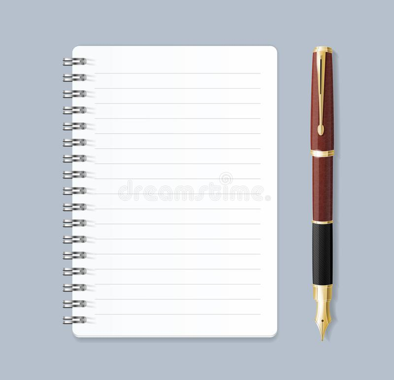 Realistic 3d Detailed Notebook Lined Spiral and Pen. Vector royalty free illustration